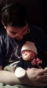 Here's Daddy (aka, me) looking down at my beautiful girl